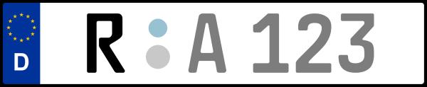 Kennzeichen R: Nummernschild von Regensburg + 1 Regionen