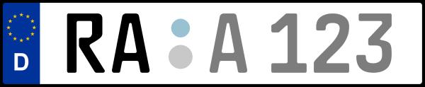 Kennzeichen RA: Nummernschild von Rastatt, KreisRegion (Landkreis)