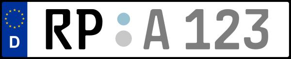 Kennzeichen RP: Nummernschild von Rhein-Pfalz-Kreis, KreisRegion (Landkreis)