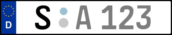 Kennzeichen S: Nummernschild von Stuttgart, KreisRegion (Stadtkreis)