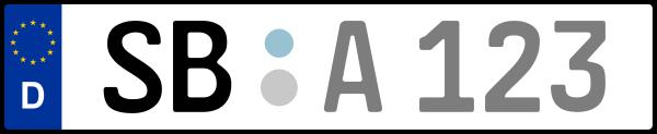 Kennzeichen SB: Nummernschild von Regionalverband Saarbrücken, KreisRegion (Landkreis)