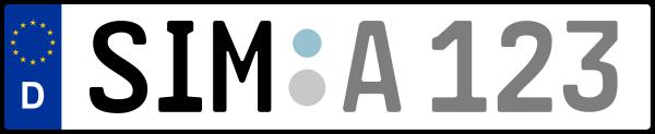 Kennzeichen SIM: Nummernschild von Rhein-Hunsrück-Kreis, KreisRegion (Landkreis)