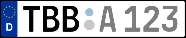 Kennzeichen TBB: Nummernschild von Main-Tauber-Kreis, KreisRegion (Landkreis)