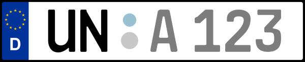 Kennzeichen UN: Nummernschild von Unna, KreisRegion (Kreis)