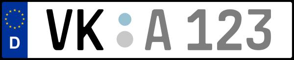 Kennzeichen VK: Nummernschild von Völklingen, Gemeinde