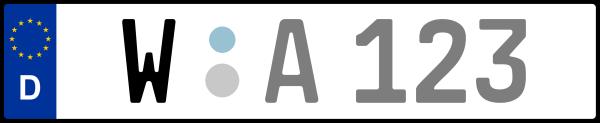 Kennzeichen W: Nummernschild von Wuppertal, KreisRegion (Kreisfreie Stadt)