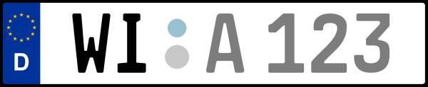 Kennzeichen WI: Nummernschild von Wiesbaden, KreisRegion (Kreisfreie Stadt)