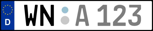 Kennzeichen WN: Nummernschild von Rems-Murr-Kreis, KreisRegion (Landkreis)