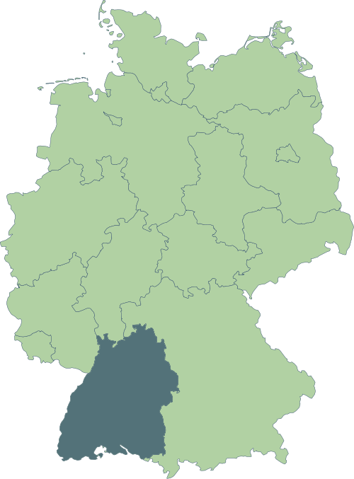 Karte: Lage von Baden-Württemberg in Deutschland