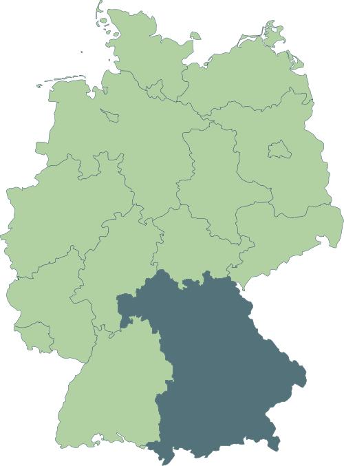 Karte: Lage von Bayern in Deutschland