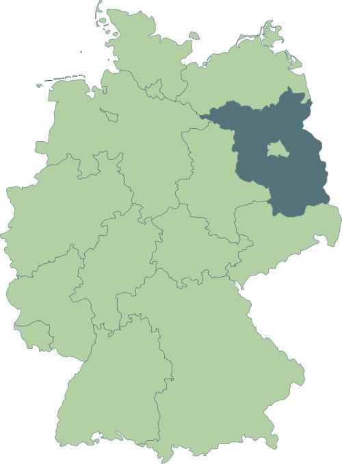 Karte: Lage von Brandenburg in Deutschland