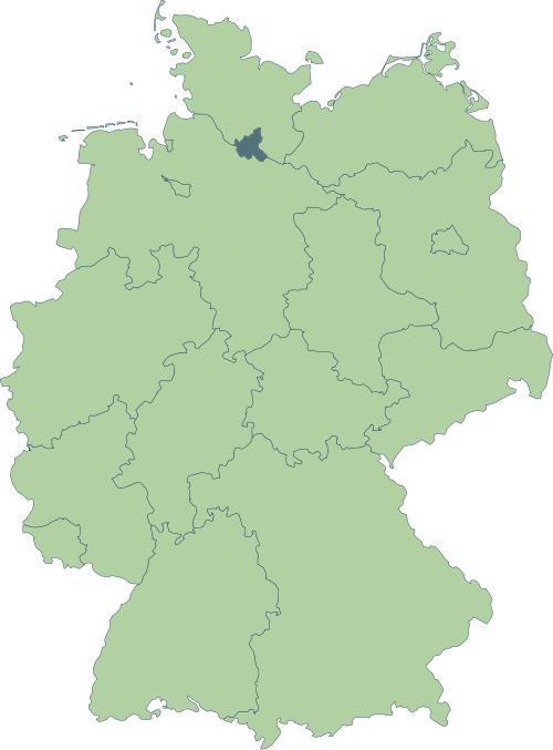 Karte: Lage von Hamburg in Deutschland