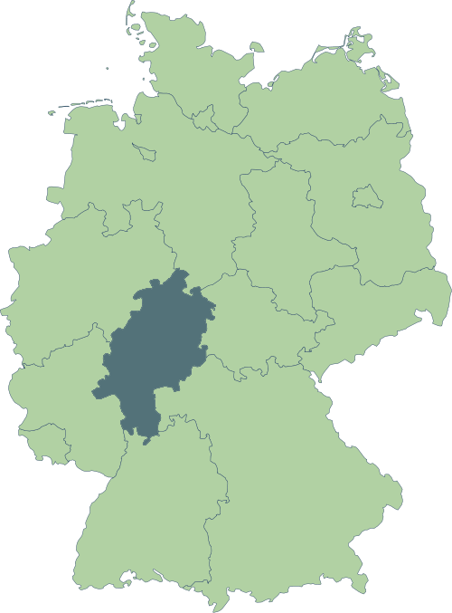 Karte: Lage von Hessen in Deutschland
