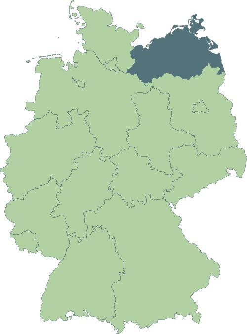 Karte: Lage von Mecklenburg-Vorpommern in Deutschland
