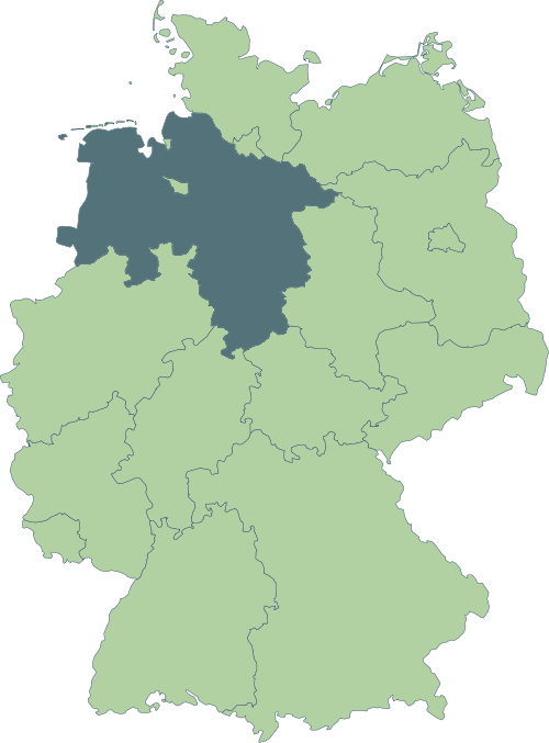Karte: Lage von Niedersachsen in Deutschland