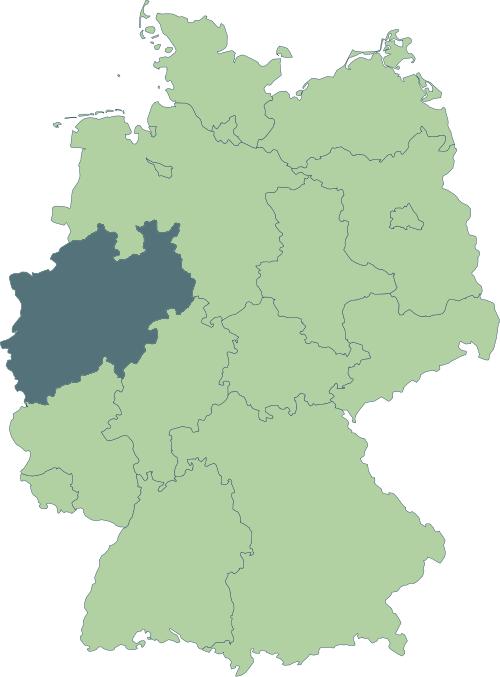 Karte: Lage von Nordrhein-Westfalen in Deutschland