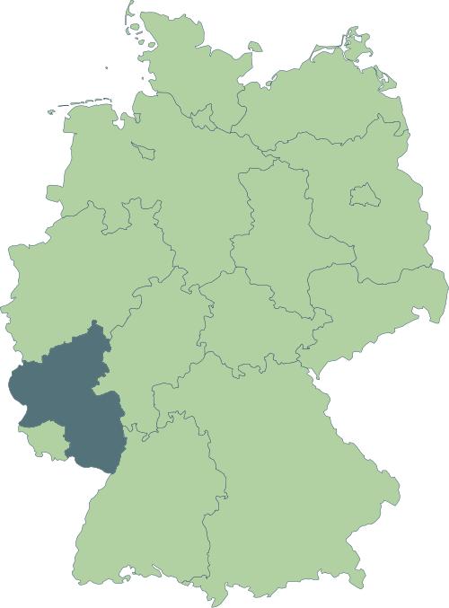 Karte: Lage von Rheinland-Pfalz in Deutschland