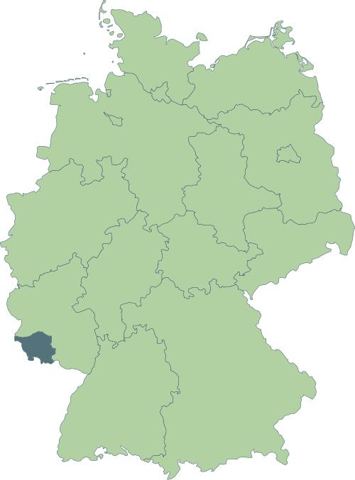 Karte: Lage von Saarland in Deutschland