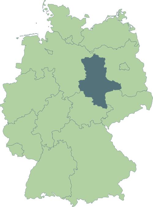 Karte: Lage von Sachsen-Anhalt in Deutschland