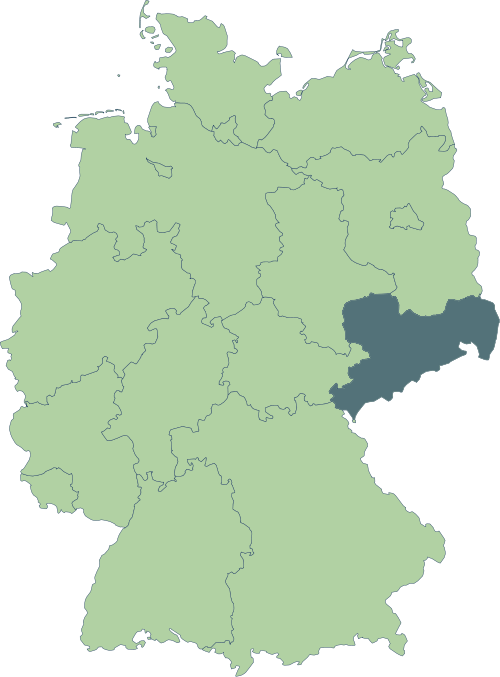 Karte: Lage von Sachsen in Deutschland