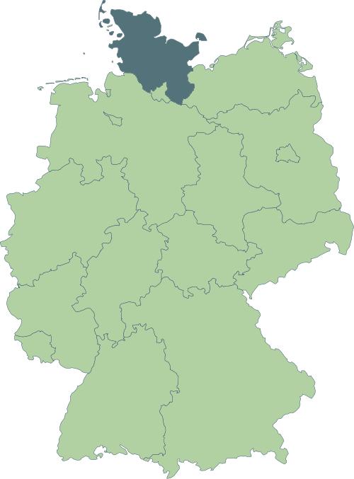 Karte: Lage von Schleswig-Holstein in Deutschland