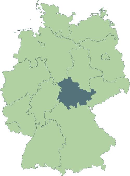 Karte: Lage von Thüringen in Deutschland