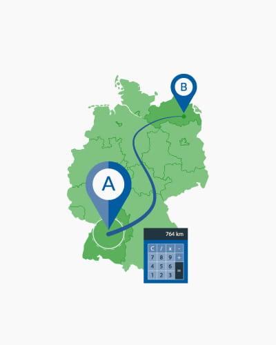 Entfernungsrechner für Deutschland: Luftlinie, mit dem Auto oder Öffentlichen Verkehrsmitteln