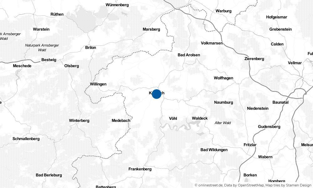 Karte: Wo liegt Korbach?