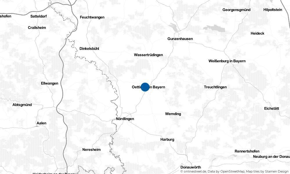 Karte: Wo liegt Oettingen in Bayern?