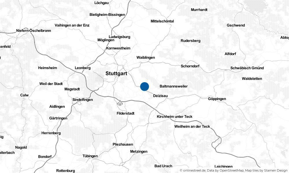 Karte: Wo liegt Esslingen am Neckar?