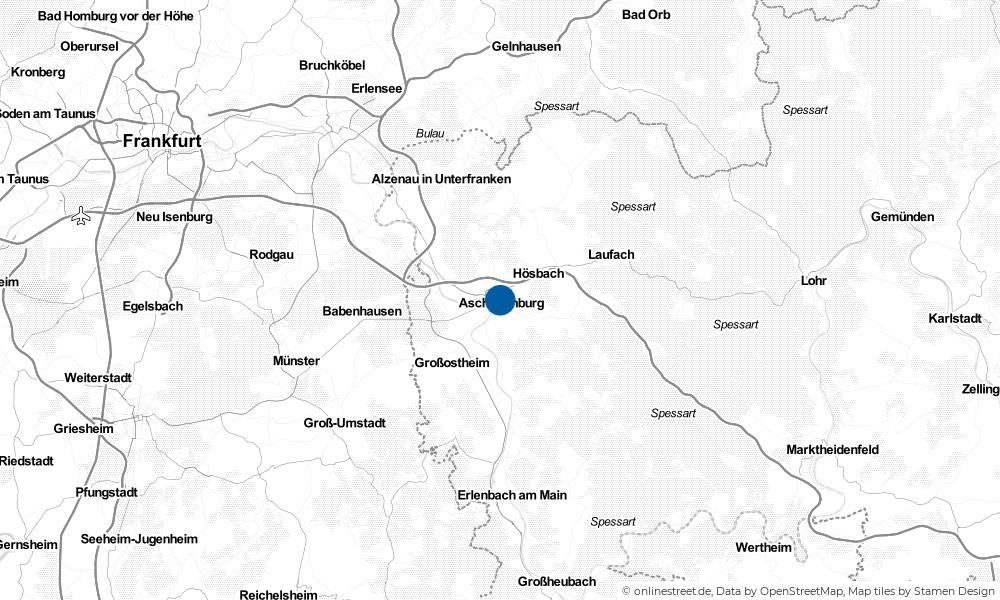 Karte: Wo liegt Aschaffenburg?