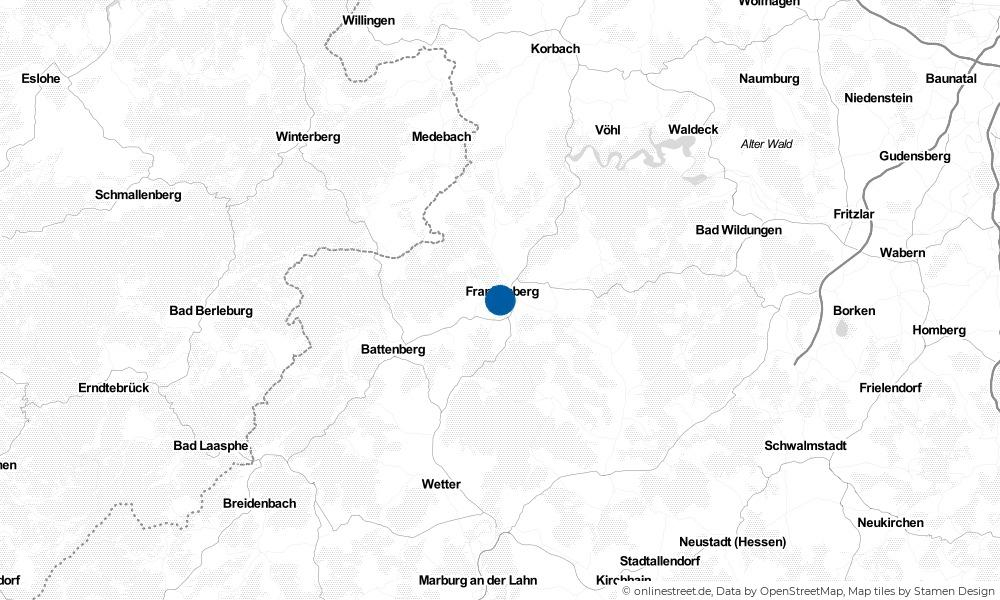 Karte: Wo liegt Frankenberg (Eder)?