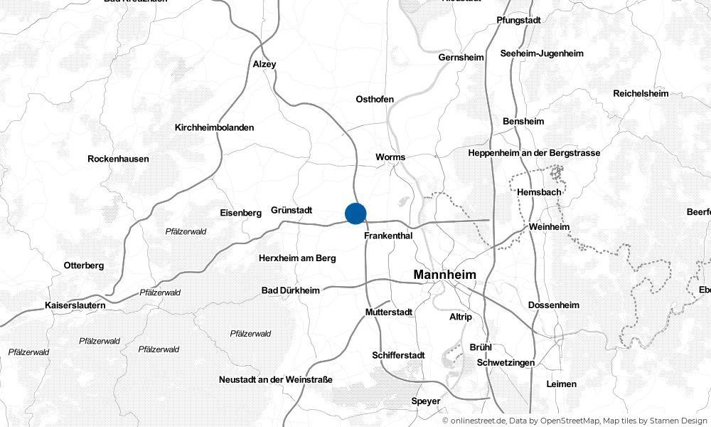 Karte: Wo liegt Heuchelheim bei Frankenthal?