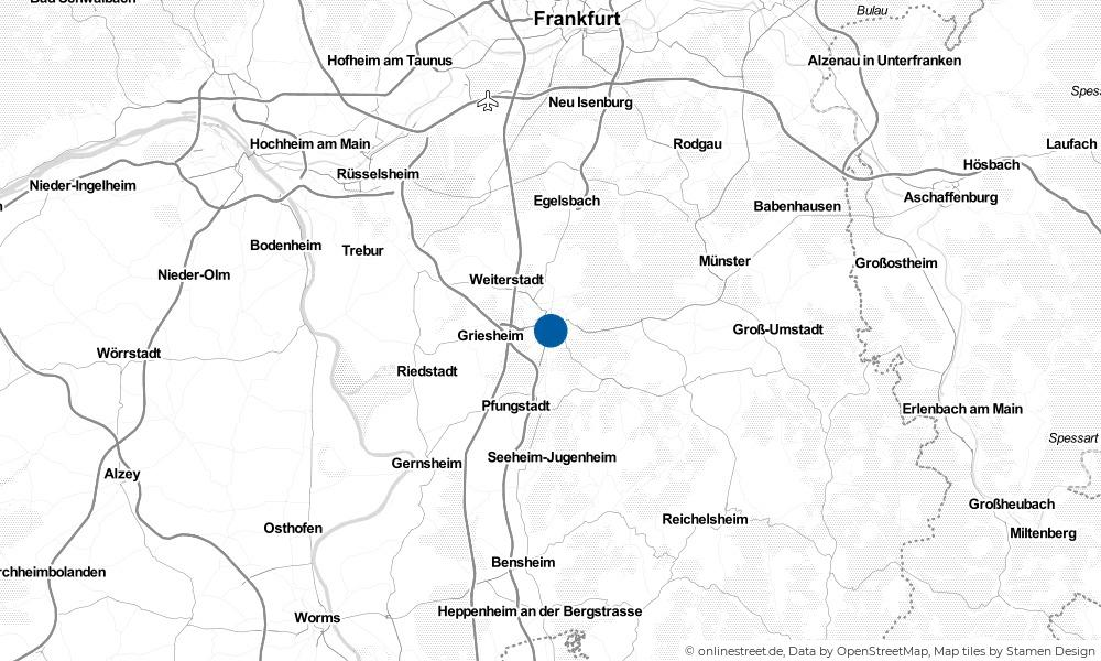 Karte: Wo liegt Darmstadt?