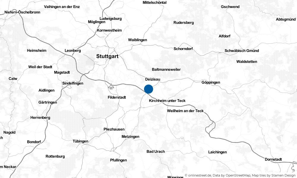Karte: Wo liegt Köngen?