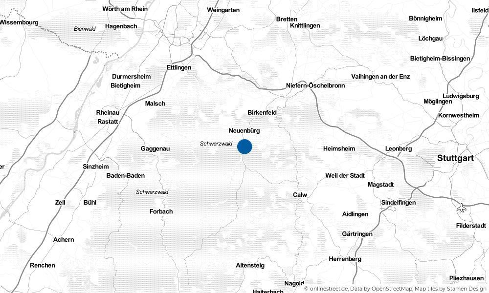 Karte: Wo liegt Höfen an der Enz?