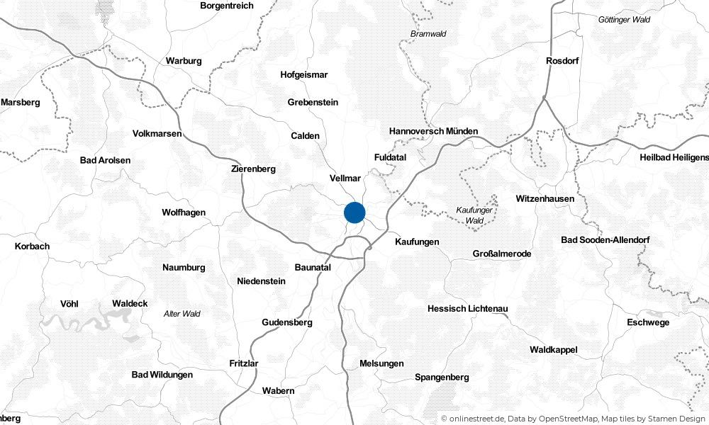 Karte: Wo liegt Kassel?