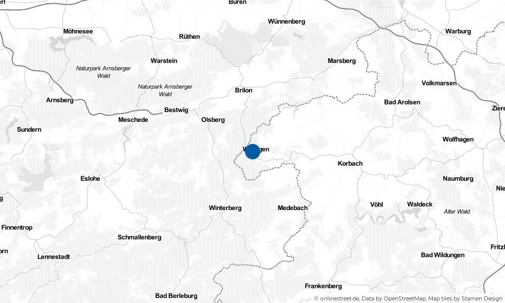 Karte: Wo liegt Willingen (Upland)?