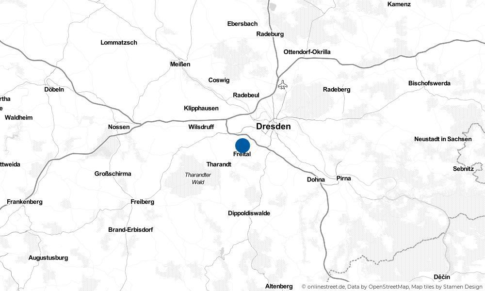 Karte: Wo liegt Freital?