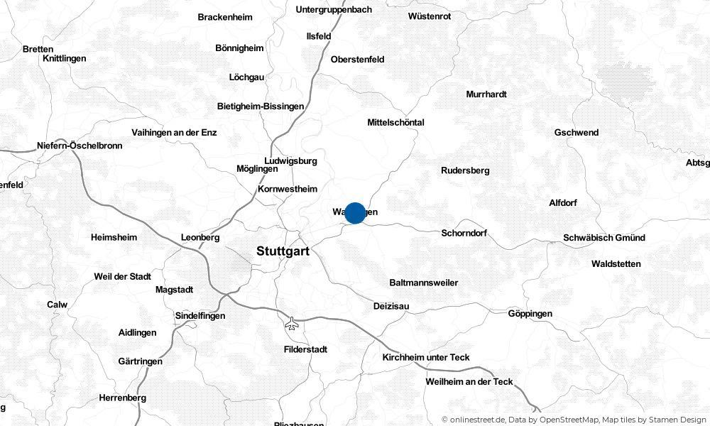 Karte: Wo liegt Waiblingen?