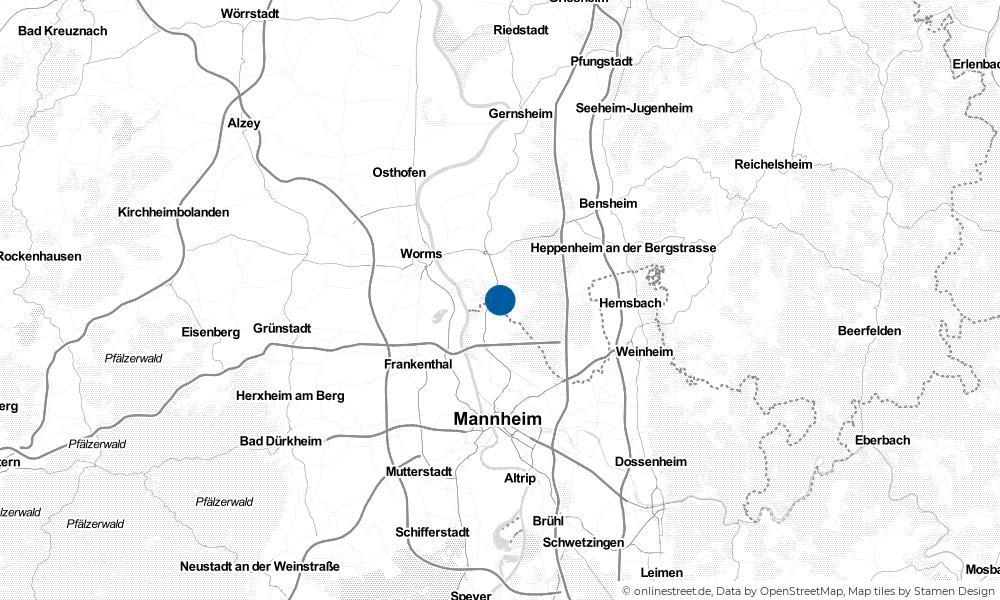 Karte: Wo liegt Lampertheim?