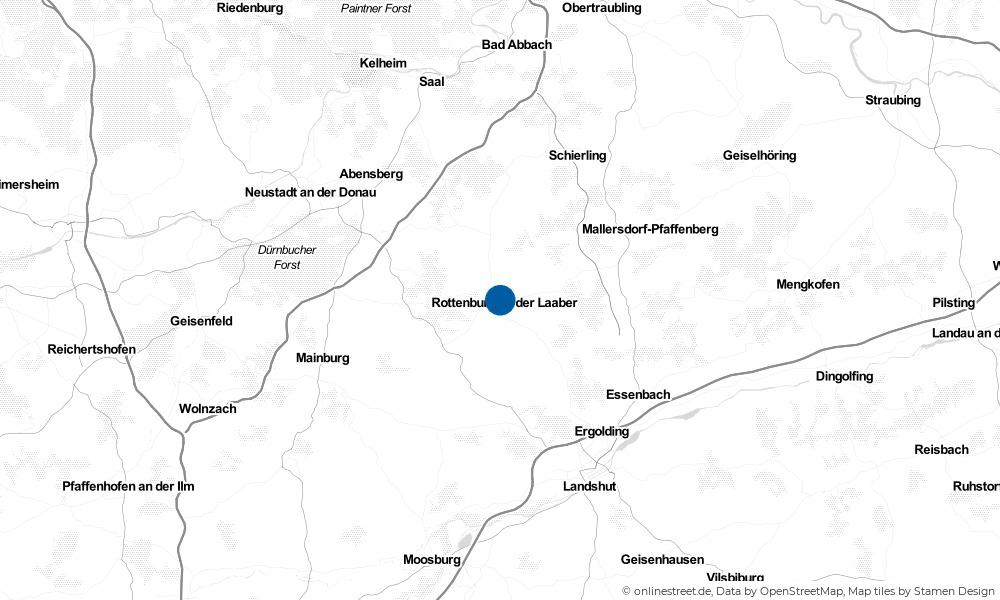 Karte: Wo liegt Rottenburg an der Laaber?