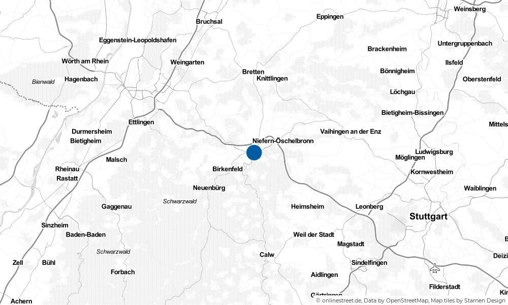 Karte: Wo liegt Pforzheim?