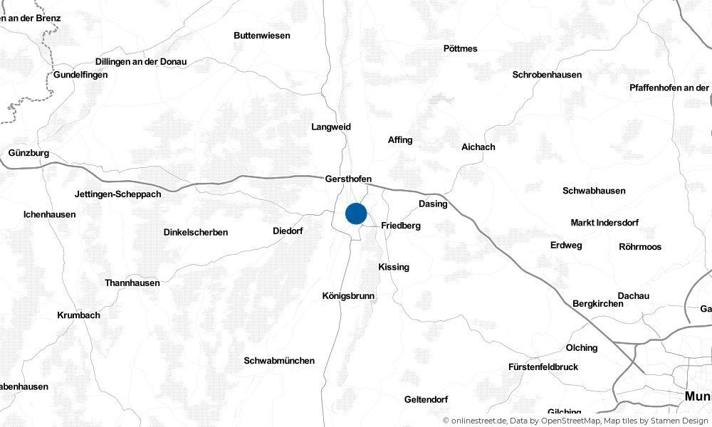 Karte: Wo liegt Augsburg?