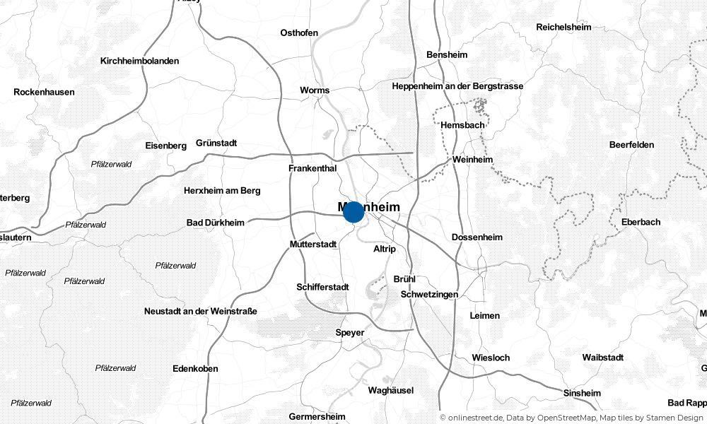 Karte: Wo liegt Ludwigshafen am Rhein?
