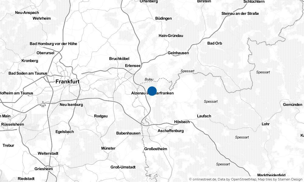 Karte: Wo liegt Alzenau in Unterfranken?