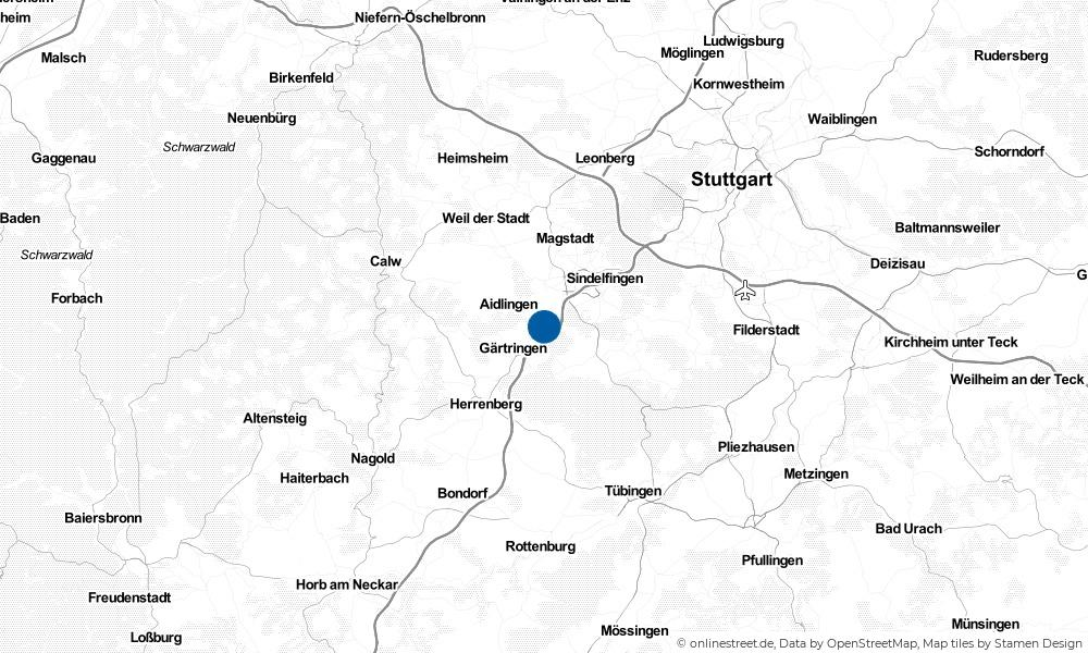 Karte: Wo liegt Ehningen?
