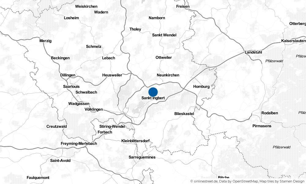 Karte: Wo liegt Sankt Ingbert?