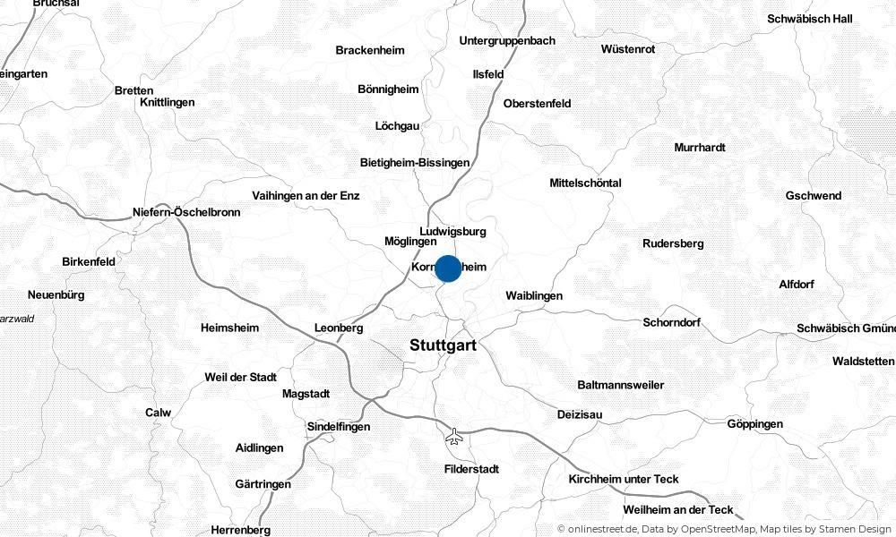 Karte: Wo liegt Kornwestheim?