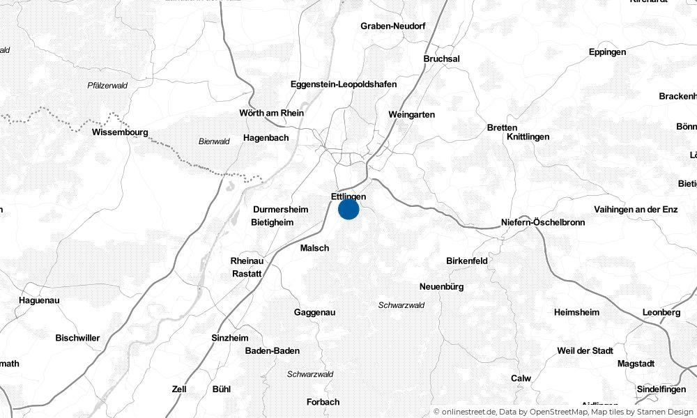 Karte: Wo liegt Ettlingen?